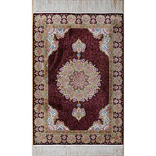 YILONG CARPET Yilong Handmade Traditional Qum Persian Silk Rug Vintage Hand Knotted Oriental Medallion Carpet (2-Feet-by-3-Feet, Red) Qum Silk Rugs