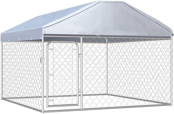 vidaXL Perrera de Exterior con Techo Jaula para Perros Casa Corral de Jardín para Animales Mascotas Malla Valla Acero Galvanizado 200x200x135 cm