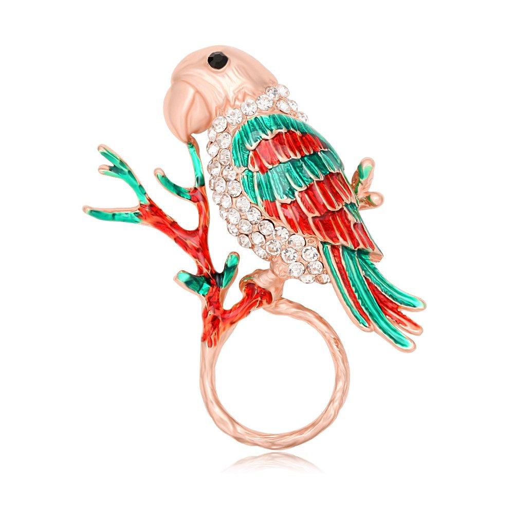 TUSHUO Natural Enamel Parrot on Tree Branch Magnetic Eyeglass Holder Parrot Birds Brooch for Animal Lover (Rose Gold)