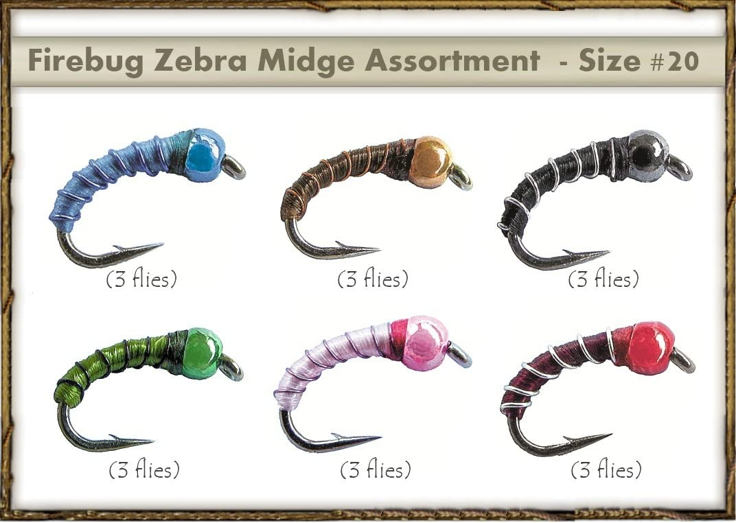 silver rib black body red head Fly Fishing Flies 12 Zebra Midges size 18