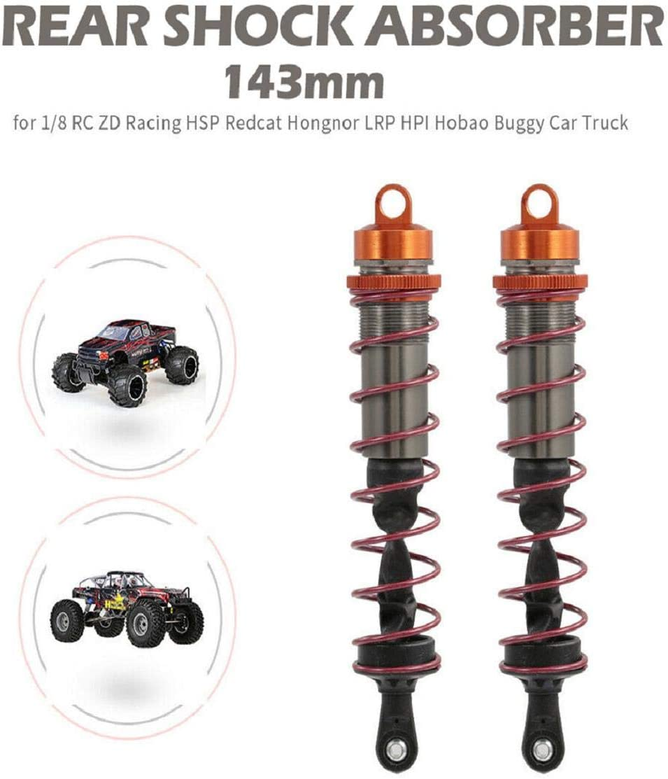 Vaycally 2pcs Racing 143mm Rear Shock Absorber Damper Suspension for 1//8 RC Car Truck Car Professional New Hiigh Quality Model Car Spare Parts Accessories