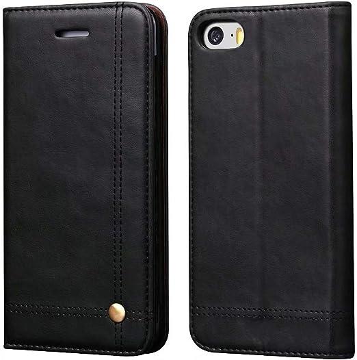 Ruihui Étui portefeuille en cuir avec fentes pour cartes, béquille, fermeture magnétique pour Apple iPhone SE/iPhone 5/5S