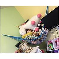 "Toy Hammocks, Huijukon Jumbo Toy Hammock Corner Toy Hammock Cuddly Toy Storage Hammock Net Organiser | Size: 84"" x 59"" x 59"" for Cuddly Toys, Stuffed Animals, Teddies, Soft Toys (Blue)"