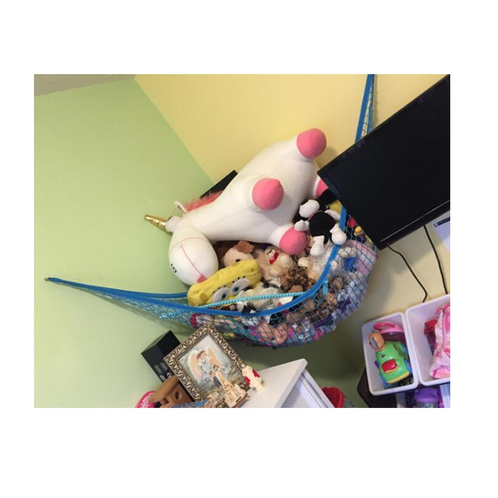 Jumbo Toy Hammock, Powkoo Extra Large Toy Hammock Storage Net Organizer | Dimensions: 84 x 59 x 59 inches for Stuffed Animals, Nursery Play, Teddies (Blue)
