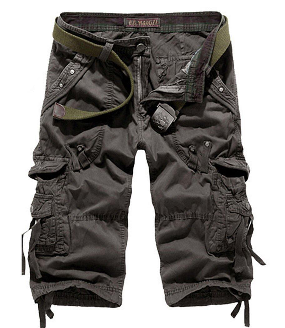 Men's Lightweight Relaxed Fit Cargo Shorts Dark Grey 38