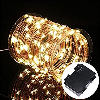 Kohree 3 Pack 100 LEDs Christmas String Light Battery Powered on 33ft Long Ultra Thin String Copper Wire, Decor Rope Flexible Light with Timer and Battery Box Perfect for Weddings, Tree, Party, Xmas