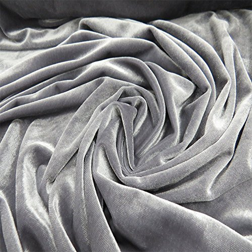"Silver Velvet Fabric - Velvet Fabric, 100% Polyester,Stretch, 58"" Wide, Over 100 Yards In Stock - 1 Yard - Multiple Colors Available"