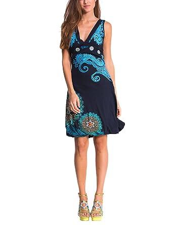 81c34c07c5 Desigual Laurita - Robe - Boule - Imprimé - Sans manche - Femme - Bleu (