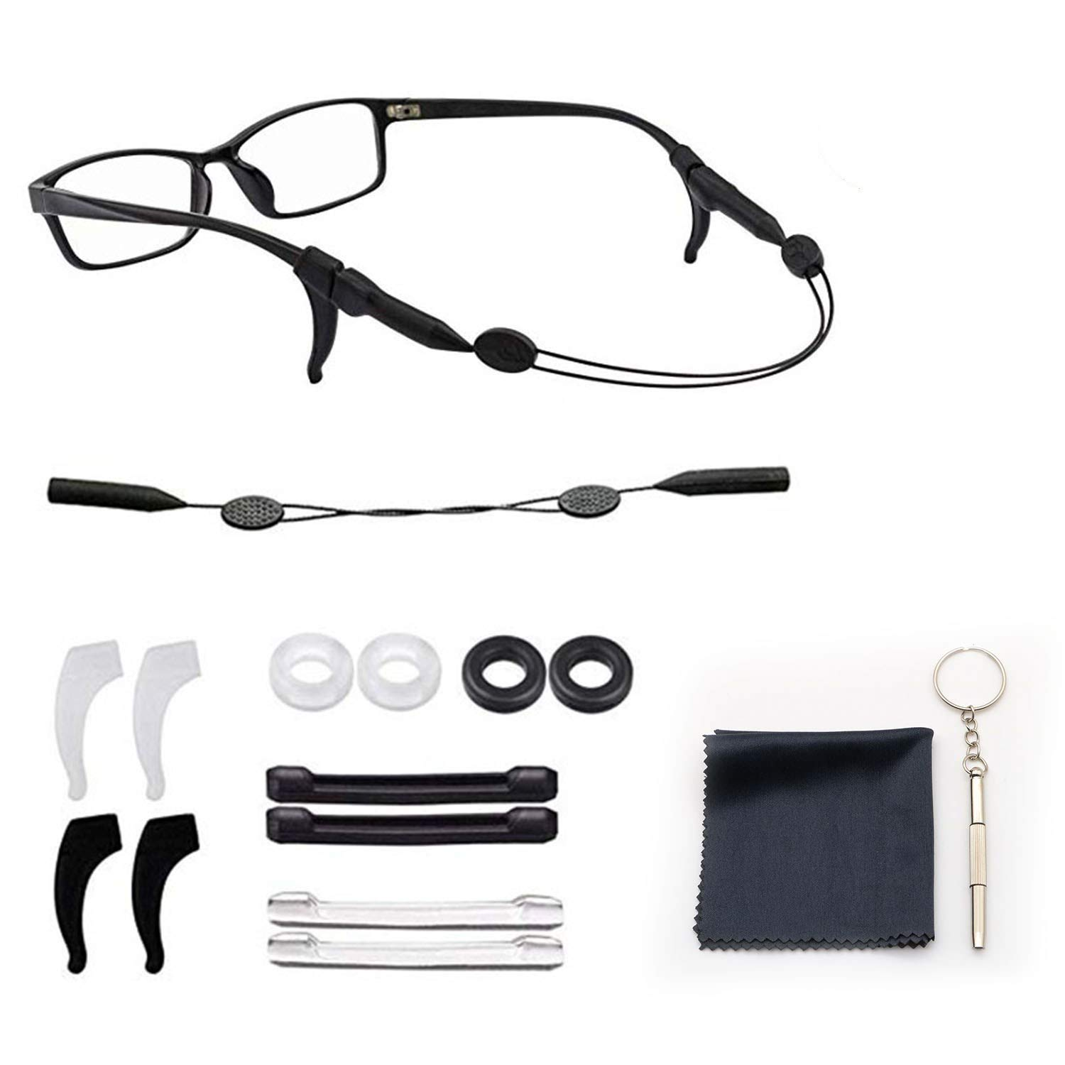Eyeglasses Retainers Comfort Silicone Anti-Slip Round Glasses Retainers Temple Tips Rings Glasses Ear Hook Grips Holder Eyewear Sleeve Retainer for Sport Spectacle Sunglasses Reading Glasses