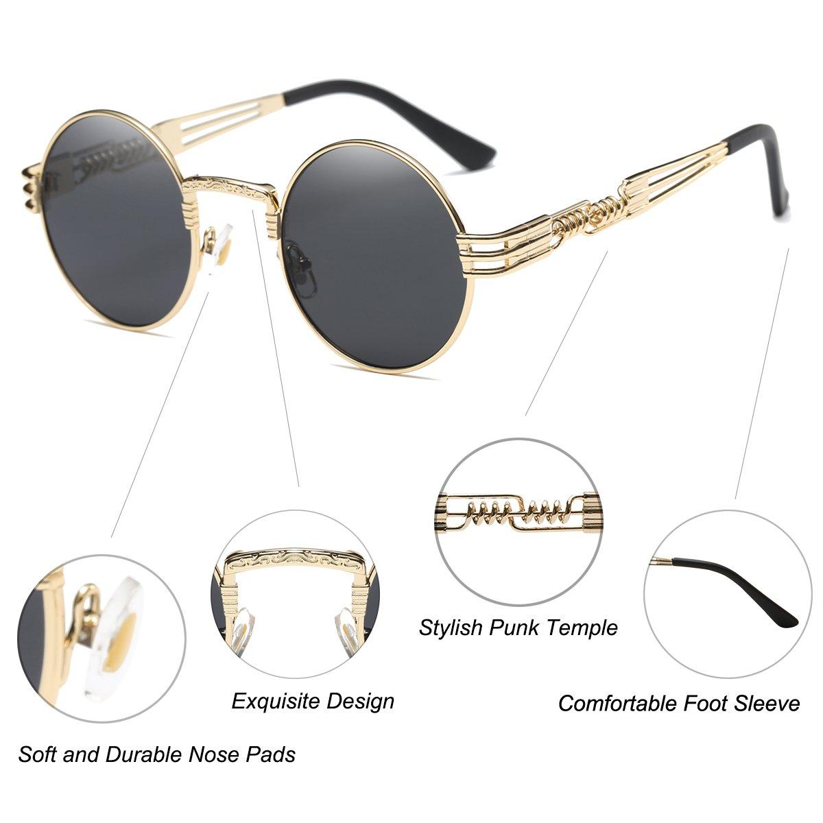 2ec416b59b Dollger John Lennon Round Sunglasses Steampunk Metal Spring Frame Mirror  Lens (Black Lens Gold Frame  Amazon.in  Clothing   Accessories