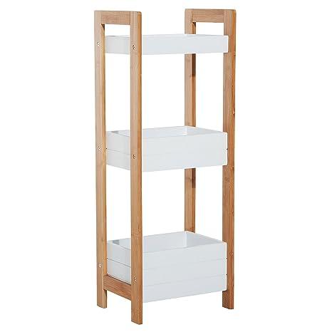 Homcom Badregal Korbregal Standregal Badezimmer Regal Bambus