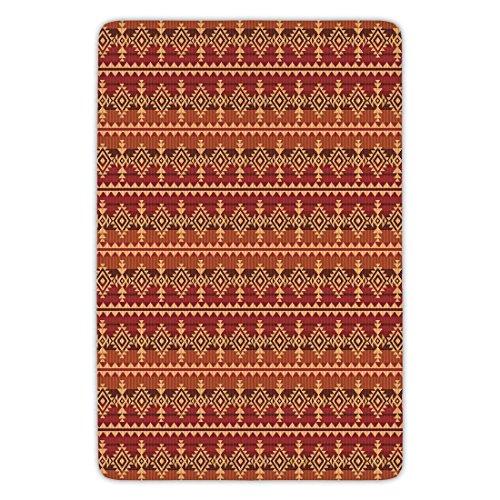 Bathroom Bath Rug Kitchen Floor Mat Carpet,Mexican,Ancient Aztec Culture Theme Classical Triangles Pattern Primitive Ornaments Decorative,Pale Orange Brown,Flannel Microfiber Non-slip Soft Absorbent by iPrint