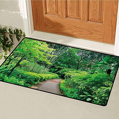 Gloria Johnson Forest Welcome Door mat Green Plants Trees in Singapore Asia Botanic Gardens Walkway Travel Destination Arboretum Door mat is odorless and Durable W23.6 x L35.4 Inch Green -