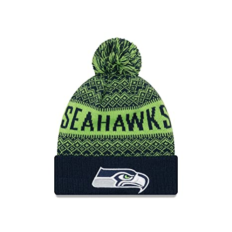 8135ccfcba4 Image Unavailable. Image not available for. Color  New Era Seattle Seahawks  Wintry Pom 2 Pom Knit Beanie Hat Cap