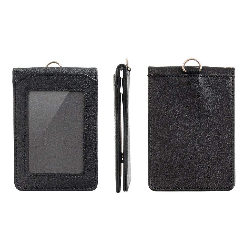 ID Carte Porta Badge con 1 finestra ID e 4 fessura per carte Nero LEUYUAN ID Card Badge Holder con Clip di sicurezza e Portachiavi Porta Badge con Cordino |EU067