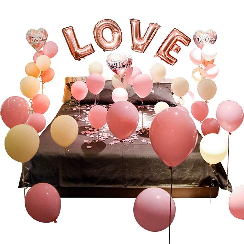 Wedding Room Balloon, Valentine\'s Day Birthday Balloon Set Bedroom Decoration Wedding Party Decoration (color : A)