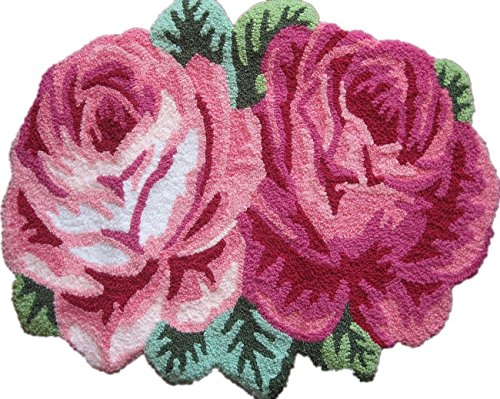 YOFAN 23-3/5-inch by 27-1/2-inch Fashion Handmade Flower-shaped Rug , Anti-slip Carpet for Living Room Bedroom (Two Roses)