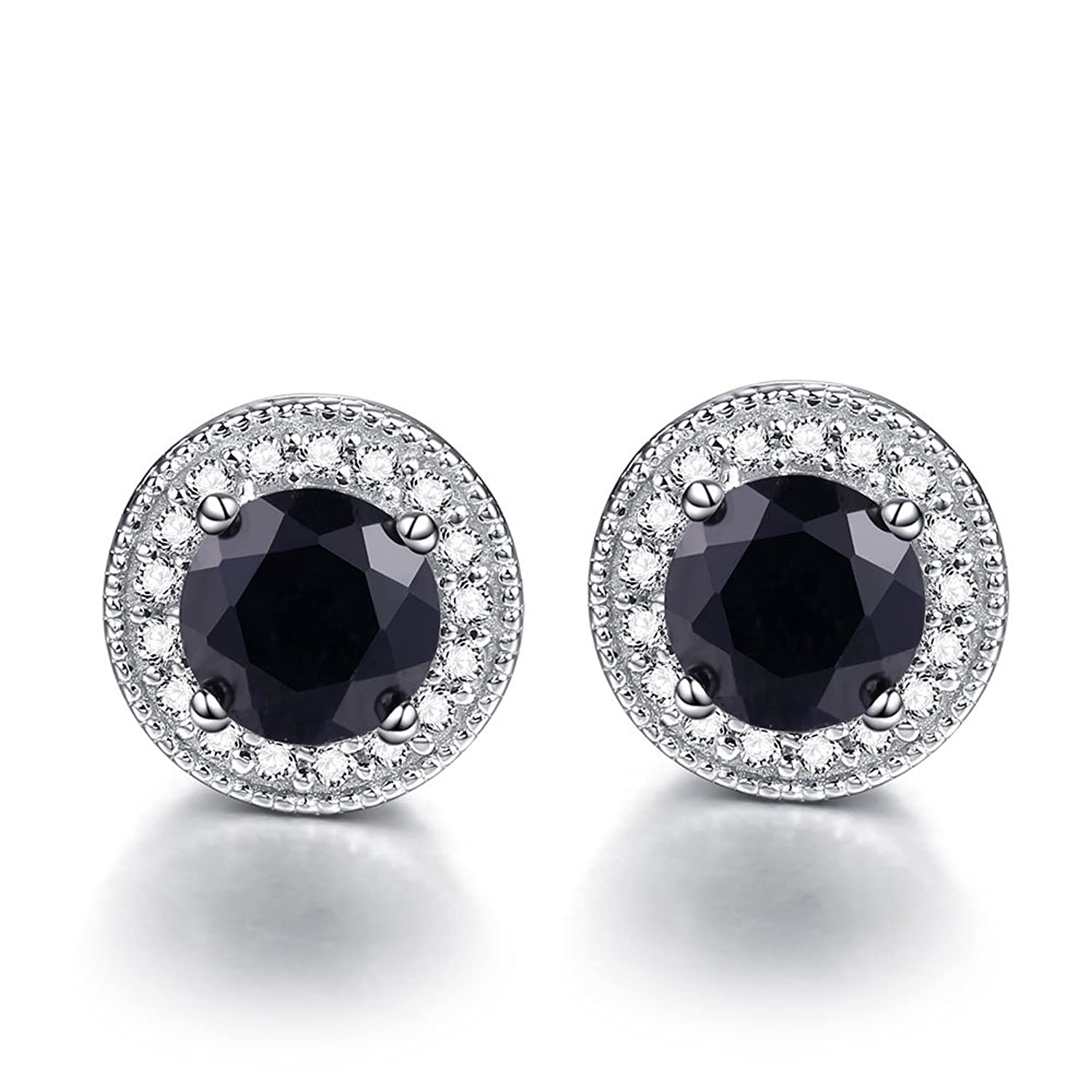 Sterling Silver Round Cut Solitaire Black Sapphire Gemstone Stud Earrings with Halo CZ for Women