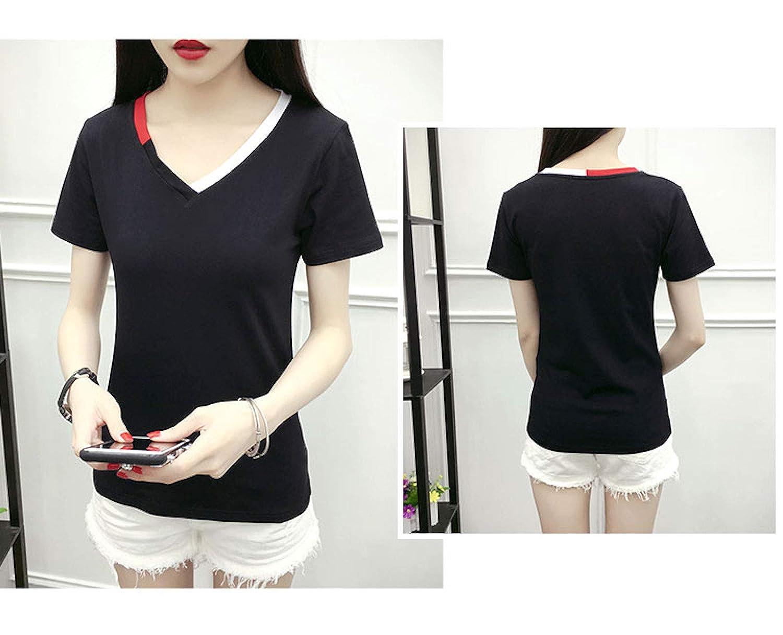ZumZup Womens Summer T-Shirts Casual V-Neck Teen Girl Short Sleeve T-Shirt Top