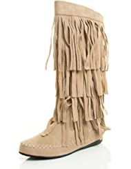A.X.N.Y Women's Layered Fringe Detail Mid Calf Flat Moccasin Boot