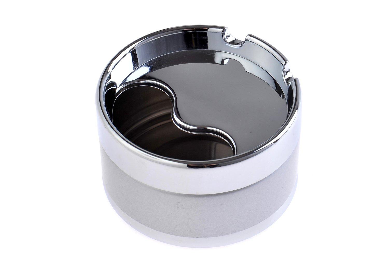 778-02 DE 8cm Durchmesser silberfarben Mod The Khan Outdoor /& Lifestyle Company Quantum Abacus Eleganter Runder Windaschenbecher aus Zinklegierung
