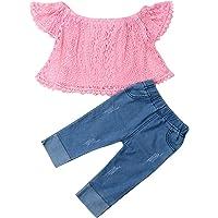 Trajes de niña pequeña para bebés Conjunto de Hombro Girasol Top Pantalones Vaqueros Largos Banda para el Pelo 3 Piezas…