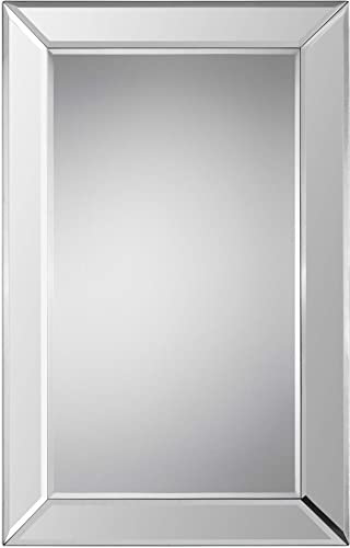 Benjara, Silver Contemporary Rectangular Beveled Wooden Frame Mirror