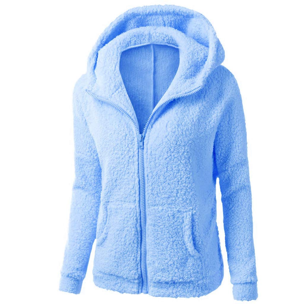 Amazon.com: AOJIAN Women Jacket Long Sleeve Outwear Hooded Zipper Pure Color Fuzzy Plus Size Sweater Coat: Clothing