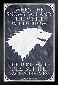 Pyramid America Game of Thrones Lone Wolf TV Show Black Wood Framed Art Poster 14x20