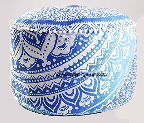 The Art Box Indian Blue Ombre Mandala Cover Ottoman Pouf, Living Room Pouf, Foot Stool 14 x 24 Approx. ()