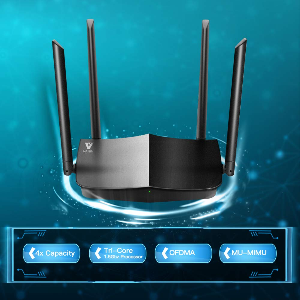 Mesh and OFDMA with 1xWAN Port and 4 x Gigabit LAN Ports Next-Gen 802.11ax Wireless Router Supporting MU-MIMO WiFi 6 Router-AX1500 Gigabit Dual Band Wi-Fi Router WPA3 WPS for Whole-Home Coverage
