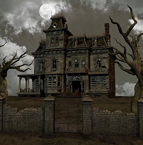 Wallmonkeys Horror Villa Wall Decal Peel and Stick Graphic WM125714 (30 in H x 29 in W) (Manor Gate Gate Manor)