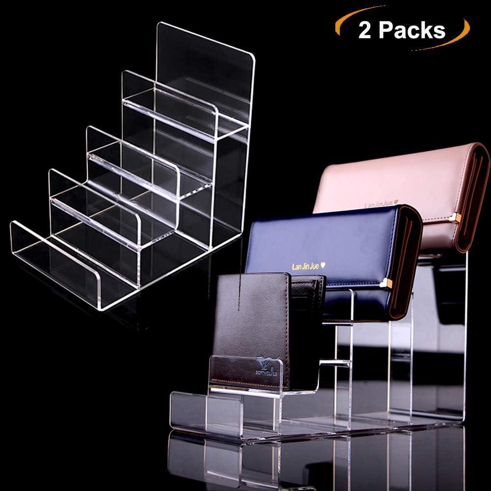 2 paquetes de expositores de acrílico con soporte para exhibir, cartera de cristal de 4 niveles, expositor de escalones de acrílico, 4Tier: Amazon.es: Hogar