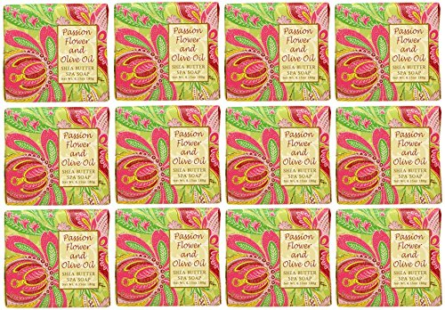 Greenwich Bay Trading Company 1.9oz Soap Bulk Packs of 12 (Passion Flower & Olive Oil) - Passion Flower Scent Oil