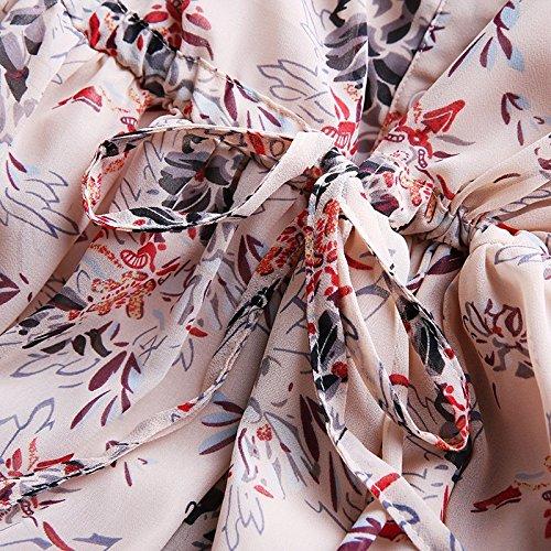 Nue Robes Impression Longue Jupe Manches nbsp;mousseline xl Longues Femmes fleur Migmv qxfOwvw