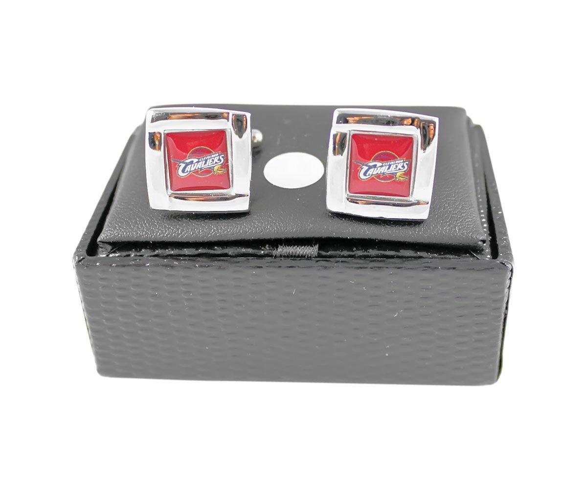 Cleveland Cavs Cavaliers NBA Sports Fan Team Logo Square Engraved Design Mens Cufflinks Gift Box Set