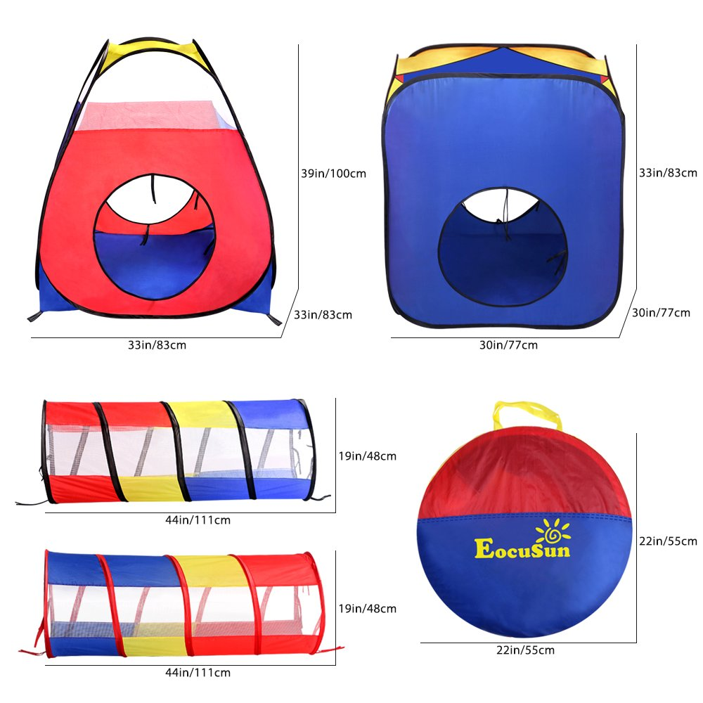 Play Tents Ball Pits, EocuSun 4 in 1 Pop Up Children Toddler Ball Pit House with 2 Tents & 2 Tunnel for Kids, Boys, Girls and Toddlers Indoor and Outdoor Playhouse with Zipper Storage Bag by EocuSun (Image #5)