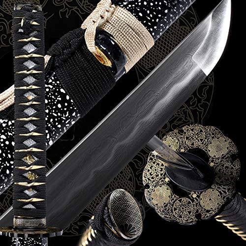 - Eroton Samurai Katana Functional Hand Forged Handmade Japanese Katana Sword 1060 1095 Carbon Steel Damascus Steel Heat Tempered Clay Tempered Full Tang Sharp 2.75ib