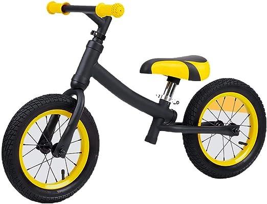 YUMEIGE Bicicletas sin Pedales Una Bicicleta sin Pedal, Caminar sin Entrenamiento de pedaleo. Rueda de radios, Altura del Asiento Ajustable, Adecuada para niños de 1 a 6 años (Color : Yellow): Amazon.es: Jardín