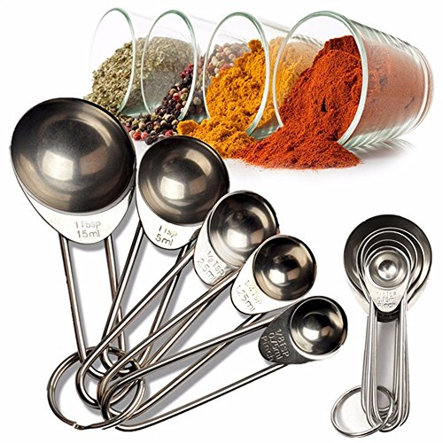 SuperStores 5pcs/set Stainless Steel Measuring Spoons Cup Tea Coffee Cooking Baking Measuring Cup (Graceful Heart Serving Set)