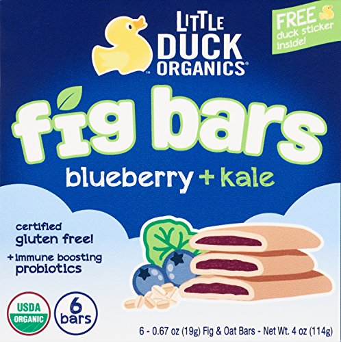 Little Duck Organics Fig Bars, Fig + Blueberry + Kale, 4 oz, 8 Count