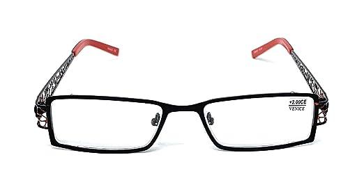 Gafas de lectura, presbicia o vista cansada (venta en óptica) |+2,00,+2,50| Venice Alambra. Colores: rojo y azul (Negro/Rojo, 2,00)