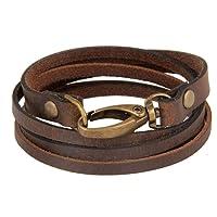 The Jewelbox Genuine Brown Leather Dual Strand Free Size Wrist Stylish Band