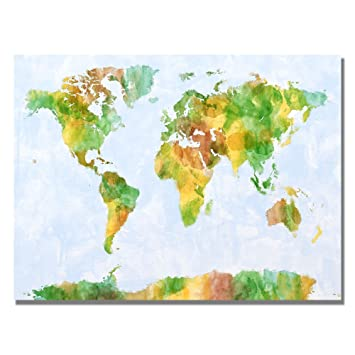 Amazon watercolor world map iii by michael tompsett 30x47 inch watercolor world map iii by michael tompsett 30x47 inch canvas wall art gumiabroncs Image collections