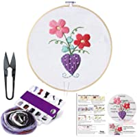 Embroidery Starter Kit with Pattern-Full Set of Handmade Cross Stitch Kits Including Embroidery Cloth,Bamboo Embroidery Hoop, Color Threads, and Embroidery Scissor Set for Beginner