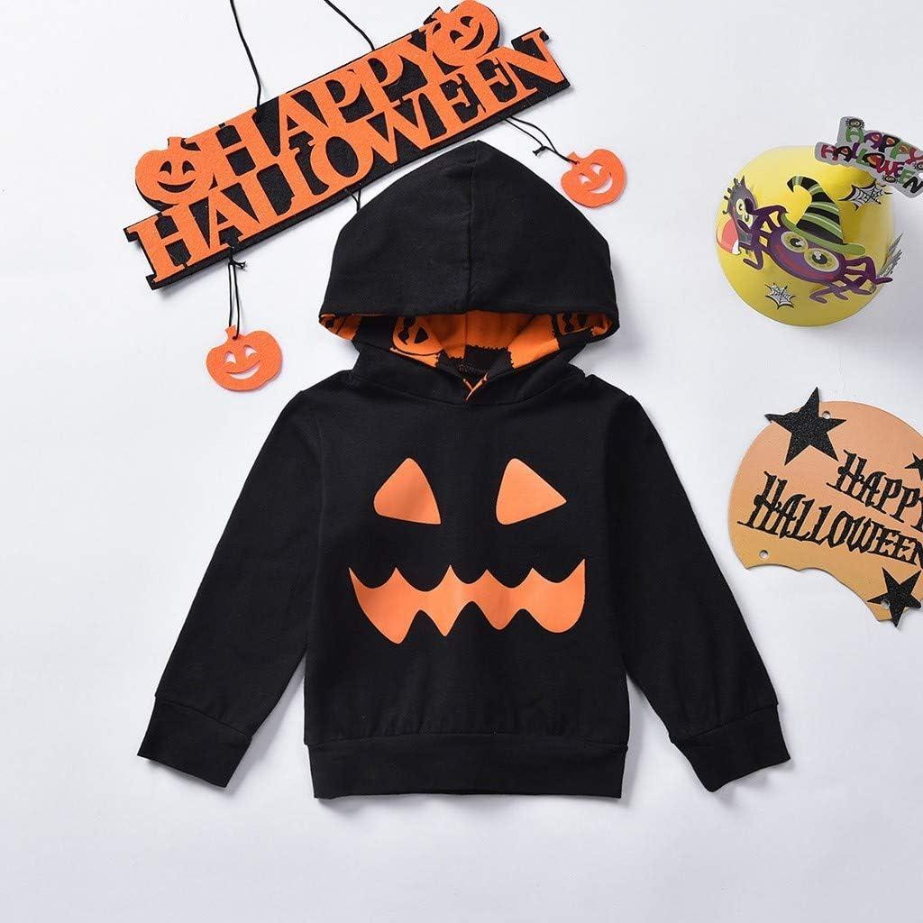 da 3-36 Mesi Bambino Beb/è Halloween Zucca Stampa Tutine Body Vestiti Set di Maglione Pantaloni con Cappuccio con Stampa a Zucca a Manica Lunga per Bambini di Halloween