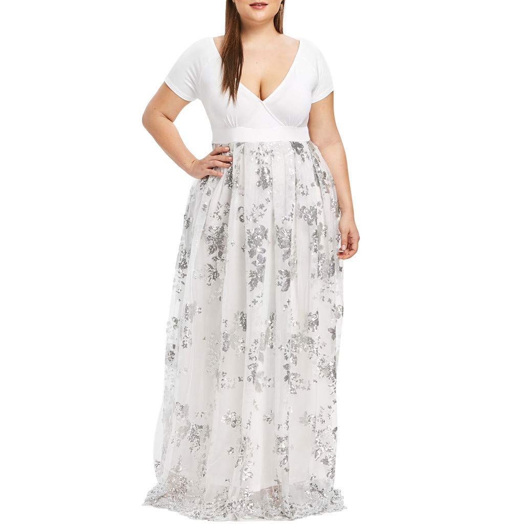 F_Gotal Womens Dresses Summer Plus Size Deep V Short Sleeve Sequined Evening Party Mesh Dress Sundress Party Cocktail White