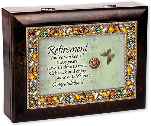 Retirement Burlwood Finish Jeweled Lid Jewelry Music Box Plays Tune What a Wonderful World ()