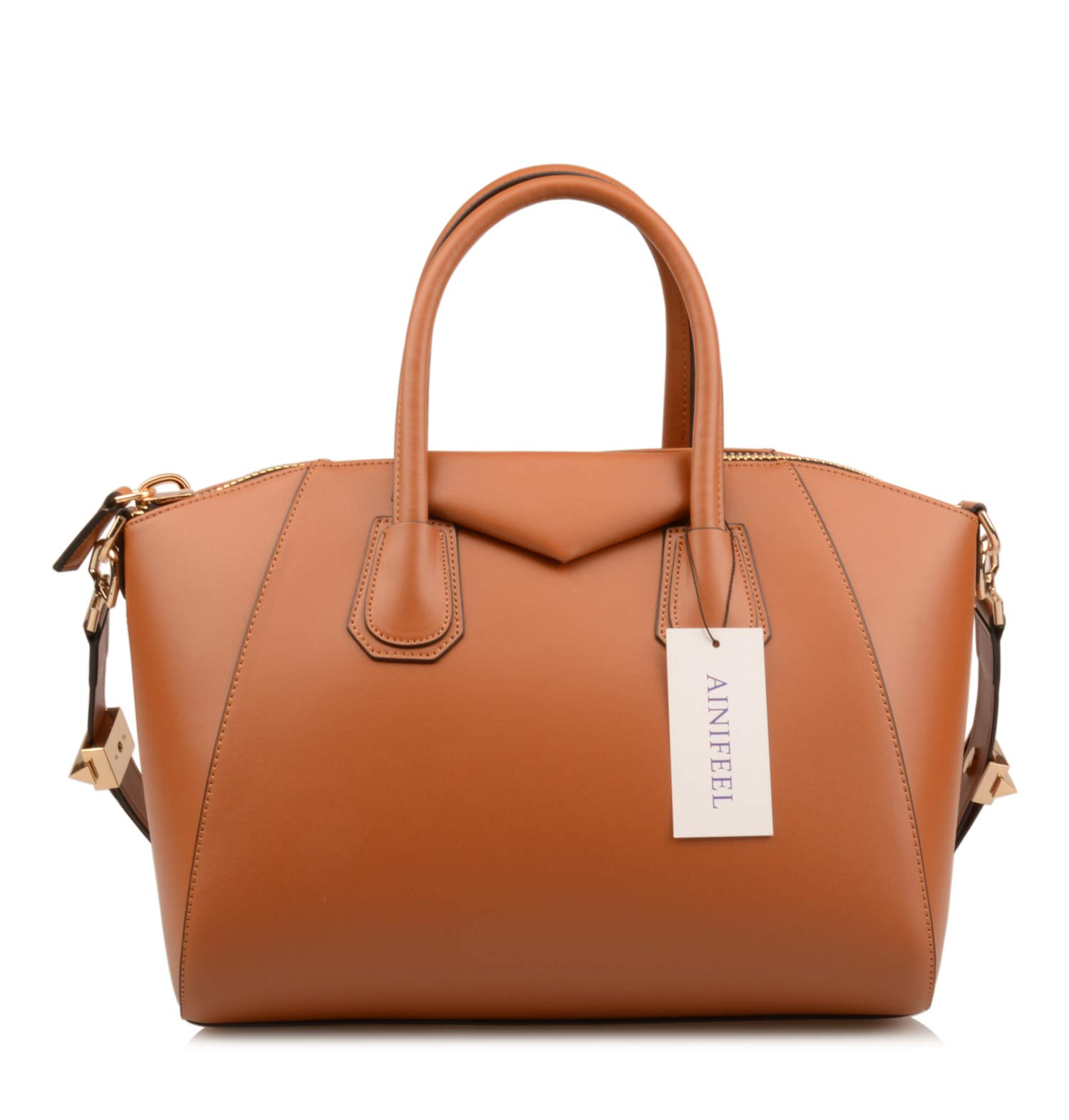 Ainifeel Women's Genuine Leather Simple Everyday Purse Top Handle Handbag Shoulder Handbags(Medium, Brown) by Ainifeel (Image #2)