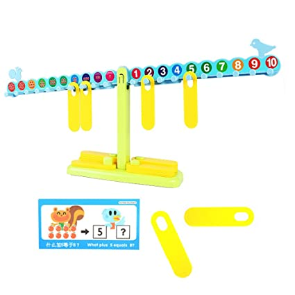 SainSmart Jr. T-Shaped Math Nombre Balance Scale, 20 Poids 10G, avec l'apprentissage Livre, cartes d'apprentissage, papier test